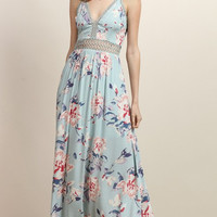 Whitney Glacier Floral Open Back Maxi Dress