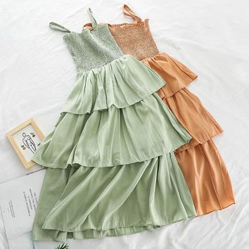 new fashion women's dresses Summer mid-length strap fresh student dress H602