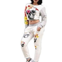 2016 Casual Two Pieces Floral Women Jumpsuit Long Sleeve Crop Top Long Sashes Pants Pattern Skull Ladies Romper