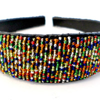 Beaded hair accessories headband fair trade multicolored leather gift Kenya handmade for girls women eco friendly handmade gifts