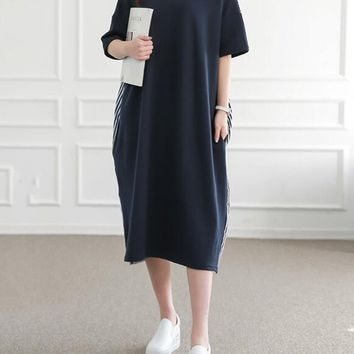 Casual Round Neck Vertical Striped Loose Maxi Dress