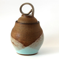 Brown Grained Ceramic Jar Glazed in Light Blue and White Matte Colors