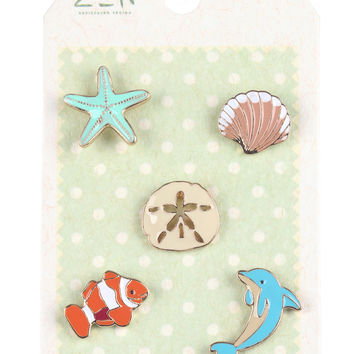 Sea Life Starfish Dolphin Pin Brooch Set