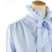 Vintage 70s Blouse Blue Polka Dot Sexy by mysweetiepiepie on Etsy