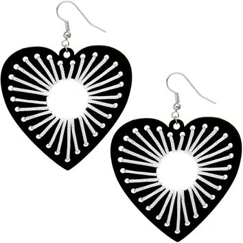 Black Wooden Woven Heart Earrings