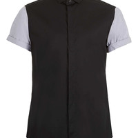 Black Grey Contrast Short Sleeve Smart Shirt - Men's Shirts - Clothing - TOPMAN USA