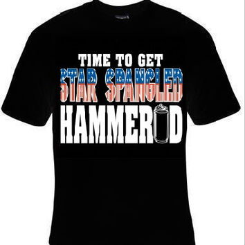 time to get star spangled hammered  t-shirt usa flag cool funny t-shirts gift present humor tee shirt