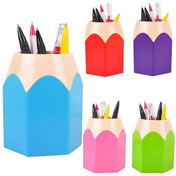 Hot Makeup Brush Vase Pencil Pot Pen Holder Stationery Storage Caja De Lapices Kids School Tool Office Pen Holder Kids Gift