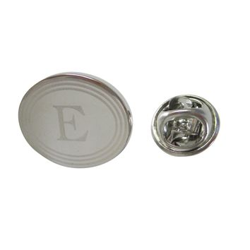 Silver Toned Etched Oval Letter E Monogram Lapel Pin