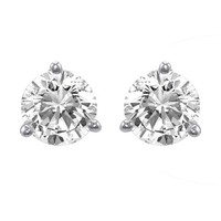 18k Gold 3-Prong Round Diamond Stud Earrings (1/2 cttw, G-H Color, SI1-SI2 Clarity)