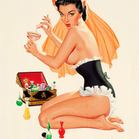Pin-Up Girl Wall Decal Poster Sticker - Poison - Brunette Black Hair Dark Raven Pinup Pin Up