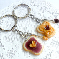 Peanut Butter and Jelly Heart Keychain Set, Grape, With Knife & Spoon, Best Friend's Keychains, Cute :D