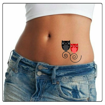 Temporary Tattoo Shoulder Owls Ultra Thin Realistic Fake Tattoos