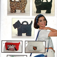 Butterick 6679 Sewing Pattern Novelty Whimsical Handbag Purse Pocketbook Tote Bag Cat Dog Fanny Pack Uncut