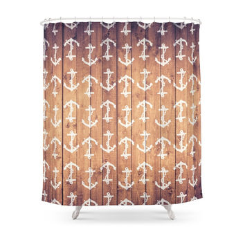 Society6 Vintage White Nautical Anchors Pattern Brown Wood Shower Curtains