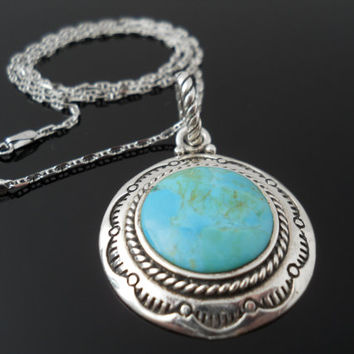 Turquoise Necklace, Sterling Necklace, Barse Pendant, Silver Necklace, 18 Inch Necklace, 925 Necklace, 925 Turquoise Necklace, Silver Chain