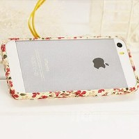 Lewire Floral Bowtie Cartoon Print Plastic Frame Phone Case For iPhone 5/5S 0630J026 Color 1