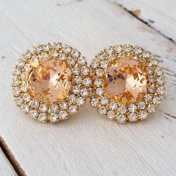 Peach crystal stud earrings,Bridal earrings, Large stud earrings, Bridesmaids gift, Swarovski stud earrings, Peach earrings, Gold or silver