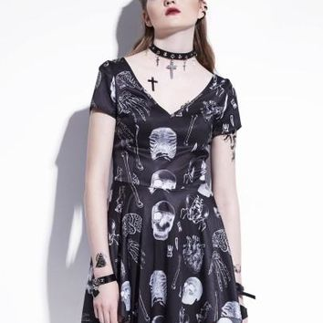 Cap Sleeve Skeleton Pattern Asym Women's Dress