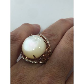 Vintage 1970's Genuine Mother of Pearl Rose gold 925 Sterling Silver Statement Ring