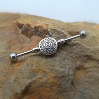 Tribal Sun Industrial Barbell 14ga Body Jewelry Ear Jewelry Double Piercing