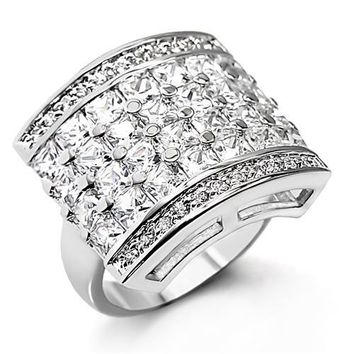 Rhodium Plated Brass with Crystal Ring