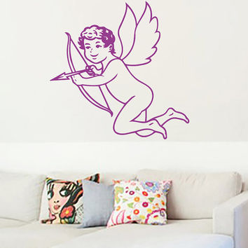 Cupid With Bow Vinyl Decals Wall Sticker Art Design Living Room Modern Stylish Bedroom Nice Picture Home Decor Hall  Interior ki650