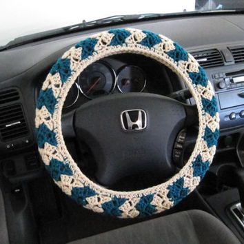 Crochet Steering Wheel Cover, Wheel Cozy - oatmeal/real teal (CSWC 2C)