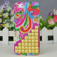 Golden Stud And Peacock Hard Case Cover for Apple iPhone 5 Case iPhone 5 Cover iPhone 5 Case iPhone 5g