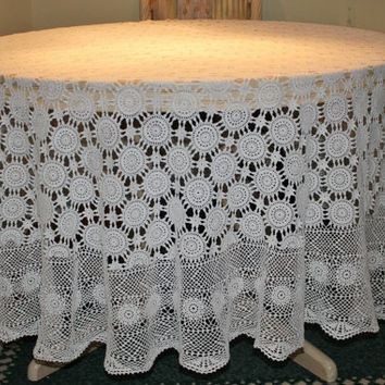 """Free Shipping Only For the Holiday Season  /Ready to be shipped TODAY /Gorgeous HANDMADE CROCHET Round Tablecloth/ 85""""- 215 cm"""