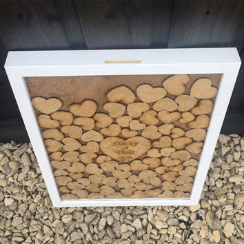 Drop Box Guest Book, frame guestbook, wedding guest book, guest sign, heart drop, wedding drop box