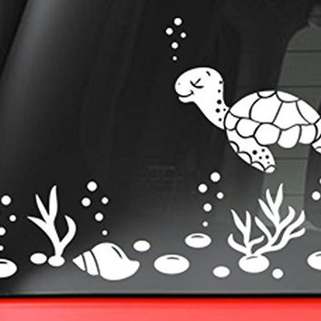 "Sea Turtle And Shells Decal Sticker - White 5"" Vinyl Decal for Car, Macbook, or Other Laptop"
