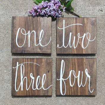 Set Of 15 Rustic Table Numbers Wedding Decor Wooden