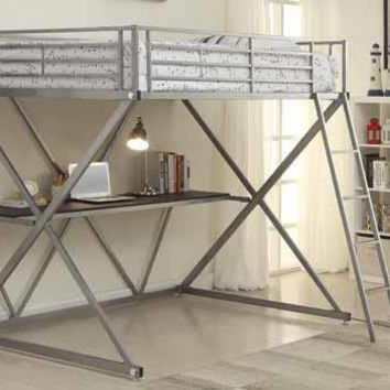 Coaster Fine Furniture Full Workstation Loft Bed Silver 400034F