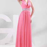 Watermelon Deep V-Neck Ruched Wrap Beaded Shoulder Waist  Chiffon Dress