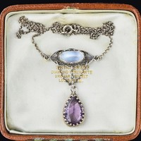 Vintage Art Nouveau Moonstone Amethyst Necklace 1900s