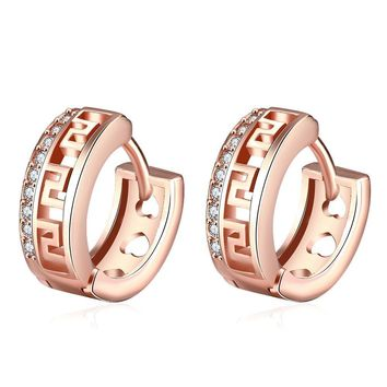 Roman Cut Huggies in Rose Gold