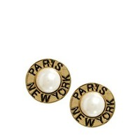 ASOS Vintage Look Pearl PARIS-NEW YORK Earrings at asos.com
