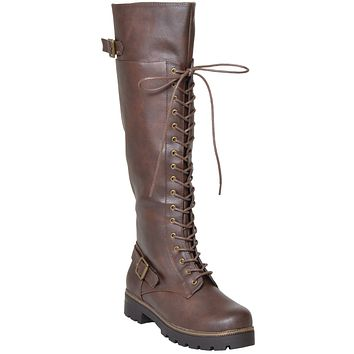 Womens Lace Up Knee High Combat Boots Brown