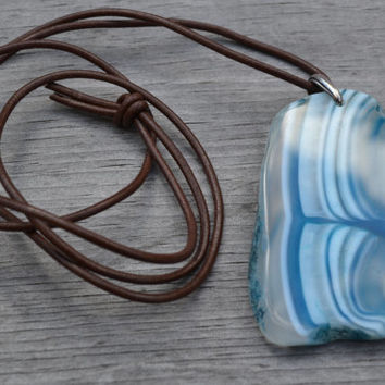 Blue Ocean Necklace, Druzy Sliced Agate, Ocean Waves, Brown Leather Cord, Natural Blue Stone Necklace, Crystallized Geode Stone Pendant