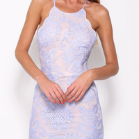 Lila Halter Backless Mauve Lace Bodycon Dress