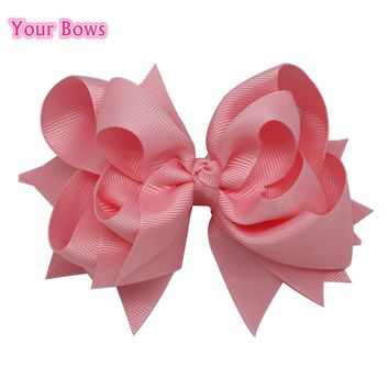 Your Bows 1PC 5 inches Kids Hair Bows 3 Layers Solid Light Pink Hair Clips Boutique Ribbon Bows For Girls Hair Accessories