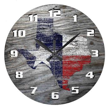Rustic Patriotic Texas Flag on wood texture Square Wall Clock