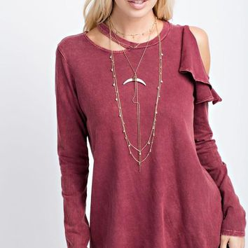 Mineral Wash Cold-Shoulder Top (Burgundy)