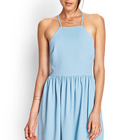 FOREVER 21 Self-Tie Skater Dress Light Blue