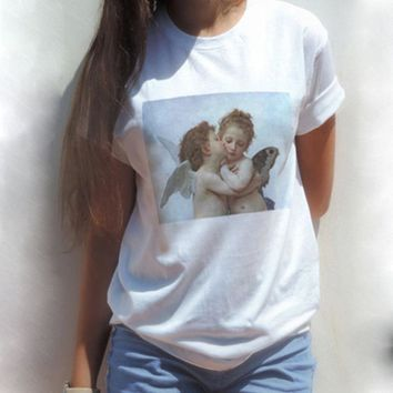 Korean Style Women Vintage Harajuku Ulzzang Cupid Angel Kiss Funny T Shirt Women Clothes Graphic Tees Shirts Femme Plus Size