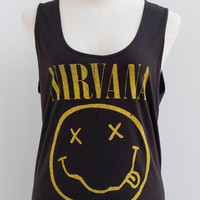 Nirvana Rock band Sleeveless Vest Tank Top Tunic Women Mini Dress T-Shirt Size M