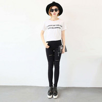 Korean Fashion significantly thin pants five hole