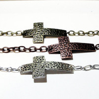 Silver  Cross Hammered Sideways Bracelet, Cross Charm Chainmaille Bracelet, Religiouis Jewelry, For Her, For Him. Unisex
