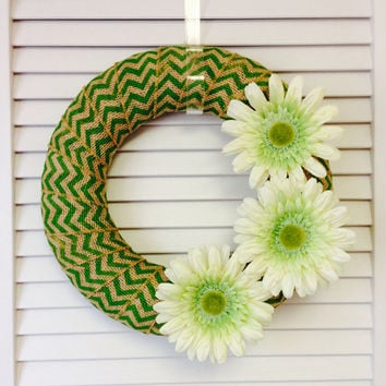 "Modern Wreath, 12"" Modern Green Chevron Burlap Wreath with Daisies, Green Wreath, Wreath for All Year, Modern Chevron Wreath, Burlap Wreath"